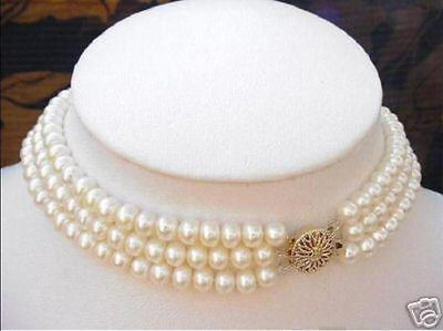 3 ROWS 7-8MM White Akoya Cultured Pearl Choker Necklace 16-18''