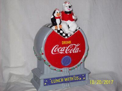 Coca- Cola Holiday Cookie Jar with polar bear n pal Sold as is without the box