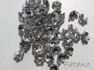 50 filigrane Perlkappen Perlenkappen 11 mm silber Spacer Schmuck basteln H3137