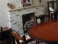 Marble mantle, fireplace and hearth