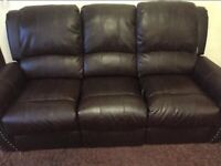 LOVE SOFA-3 SEATER BROWN LEATHER SOFA WITH RECLINERS
