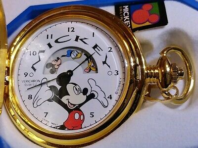 Disney Mickey Mouse Pocket Watch Verichron Colibri Animated Mint in Box Rare