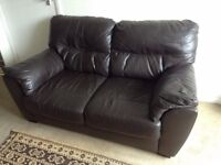 Brown leather sofa (2 seater)