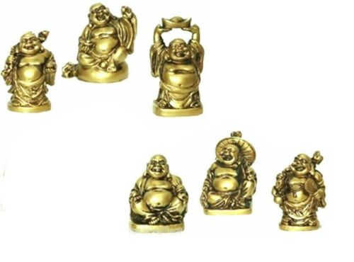 Set of 6 gold COLOR Feng Shui Laughing HAPPY Buddha Figures & Statue Luck