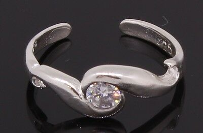 Sterling Silver Toe Ring Adjustable With A CZ Stone Handmade Item