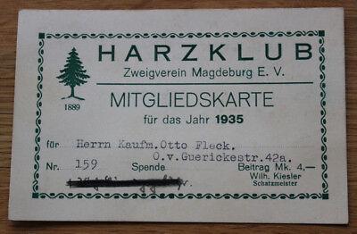 Alter Ausweis Magdeburg Harzklub 1935