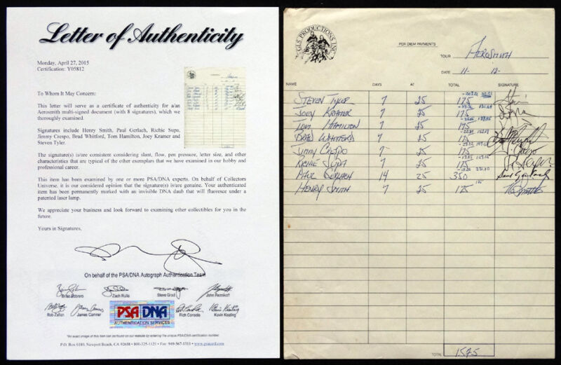 1979 1980 AEROSMITH Signed Autograph STEVEN TYLER Kramer Hamilton & PSA/DNA COA