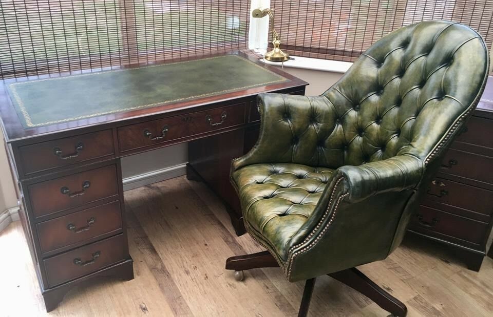 Reproduction Antique Style Desk With Matching Chesterfield Green