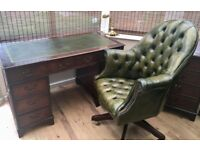 Reproduction Antique Style Desk with matching Chesterfield Green Director's chair