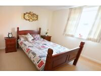 Mahogany double bed frame with side furniture and chest of drawers