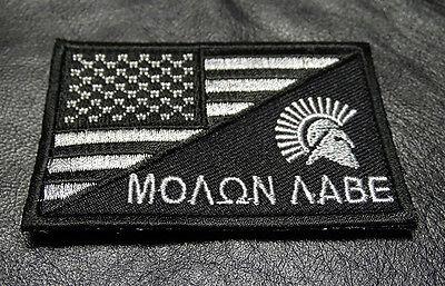 MOLON LABE SPARTAN USA FLAG TACTICAL COMBAT MORALE 3 INCH HOOK PATCH