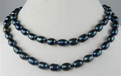 Großhandel 8-9mm Schwarz Süßwasser-Zuchtreis Perlenkette 36 - Perlenketten Großhandel
