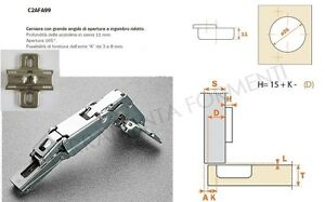 Cerniera per mobile cucina salice originale detta 180 gradi foro 35mm base ebay - Cerniere per ante cucina 180 gradi ...