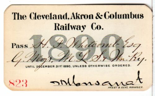 1890 Cleveland Akron & Columbus Railway Company of Ohio Annual Railroad Pass