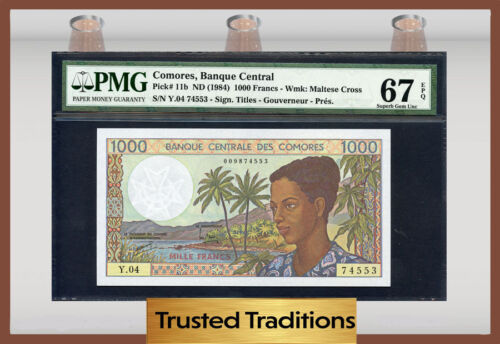 Tt Pk 11b 1984 Comores 1,000 Francs Pmg 67 Epq Superb Gem Pop Two None Finer!
