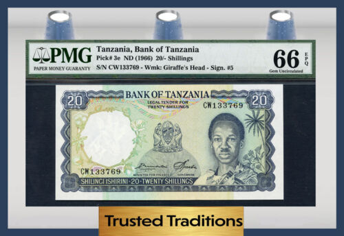 TT PK 3e 1966 TANZANIA 20/ SHILLINGS PMG 66 EPQ GEM FINEST KNOWN