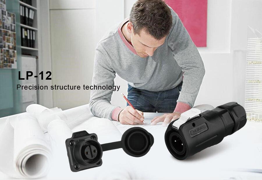 CNLINKO M12 2-8 Pin Waterproof Connector Industrial Power Plug /& Socket Outdoor