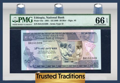 TT PK 44c 1991 ETHIOPIA NATIONAL BANK 50 BIRR PMG 66 EPQ TOP POP FINEST KNOWN