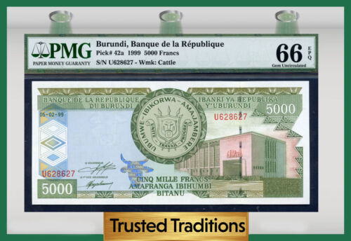 "Tt Pk 42a 1999 Burundi 5000 Francs ""deer"" ""ship""  Pmg 66 Epq Gem Pop Three"