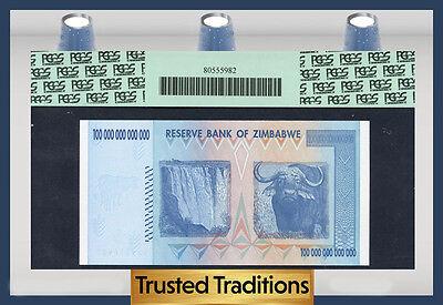 TT PK 91 2008 ZIMBABWE 100 TRILLION DOLLARS RESERVE BANK PCGS 69 PPQ NONE FINER!