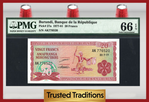Tt Pk 27a 1977-81 Burundi 20 Francs Pmg 66 Epq Gem Pop One Finest Known!