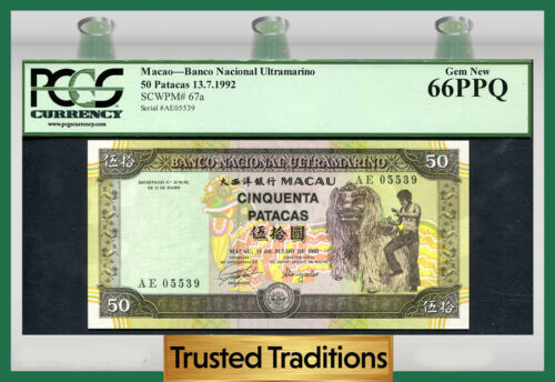 "TT PK 67a 1992 MACAU 50 PATACAS ""DANCER AND DRAGON COSTUME"" PCGS 66 PPQ GEM"
