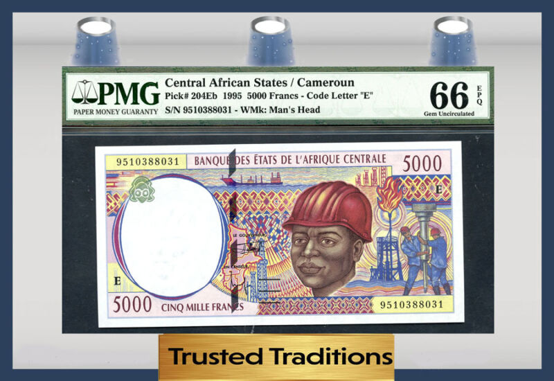 Tt Pk 204eb 1995 Central African States 5000 Francs Pmg 66 Epq Pop 2 None Finer