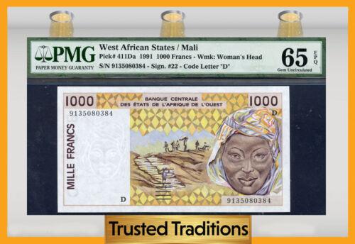 Tt Pk # 411da 1991 West African States 1000 Francs Pmg 65 Epq Gem