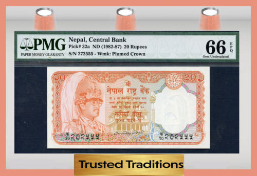 TT PK 32a 1982-87 NEPAL 20 RUPEES  PMG 66 EPQ GEM POP ONE FINEST KNOWN!