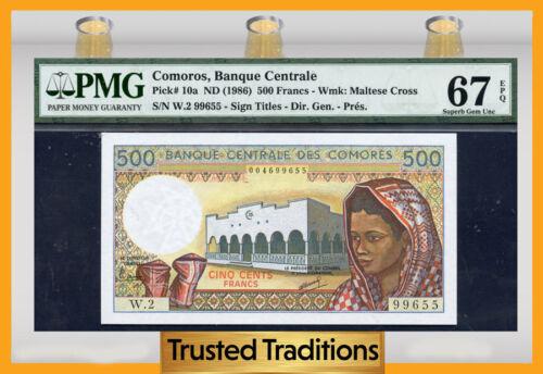Tt Pk 10a 1986 Comoros 500 Francs Banque Centrale Pmg 67 Epq Superb Gem Unc