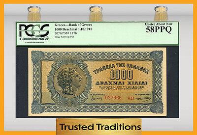 "TT PK 117b 1941 GREECE 1000 DRACHMAI ""COIN OF ALEXANDER"" PCGS 58 PPQ CHOICE"