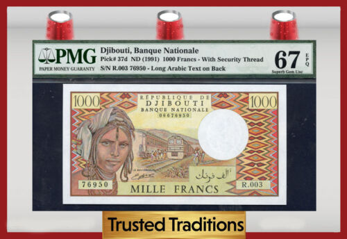 "Tt Pk 37d 1991 Djibouti 1,000 Francs ""camels"" Pmg 67 Superb Gem Epq  None Finer!"