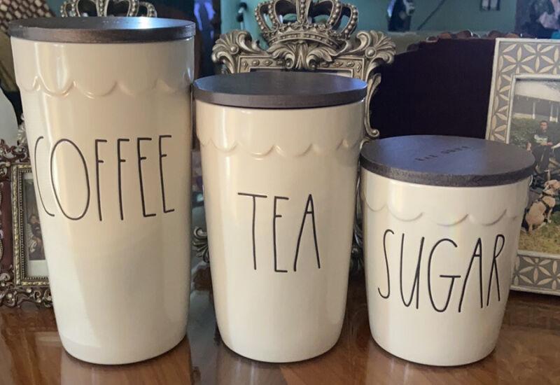 Rae Dunn COFFEE, TEA, & SUGAR Cellar Wood Lid 3 Piece Canister Set LL New