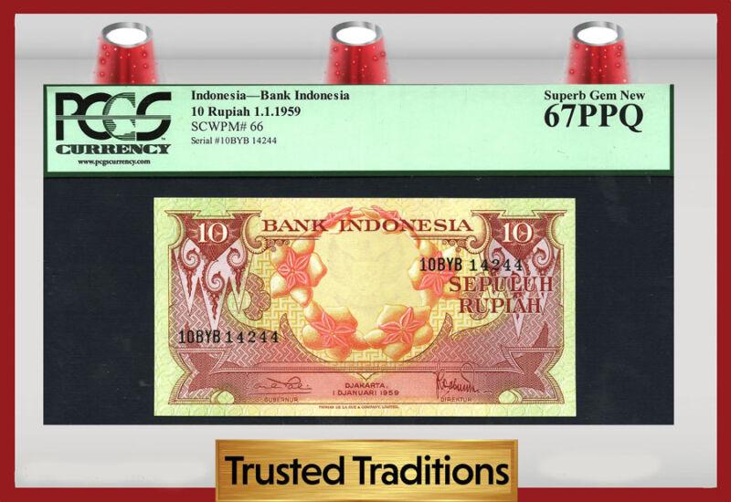 TT PK 66 1959 INDONESIA 10 RUPIAH BANK INDONESIA PCGS 67 PPQ SUPERB GEM NEW!