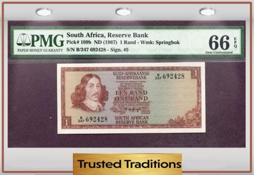 TT PK 109b 1967 SOUTH AFRICA 1 RAND PMG 66 EPQ GEM UNCIRCULATED POP THREE