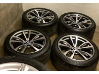 "20"" Genuine OEM BMW X5 style 469M Alloy Wheels & Dunlop RFT Tyres X6 M sport"