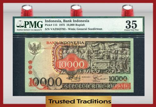 "TT PK 115 1975 INDONESIA BANK INDONESIA 10000 RUPIAH ""BOROBUDUR TEMPLE"" PMG 35"