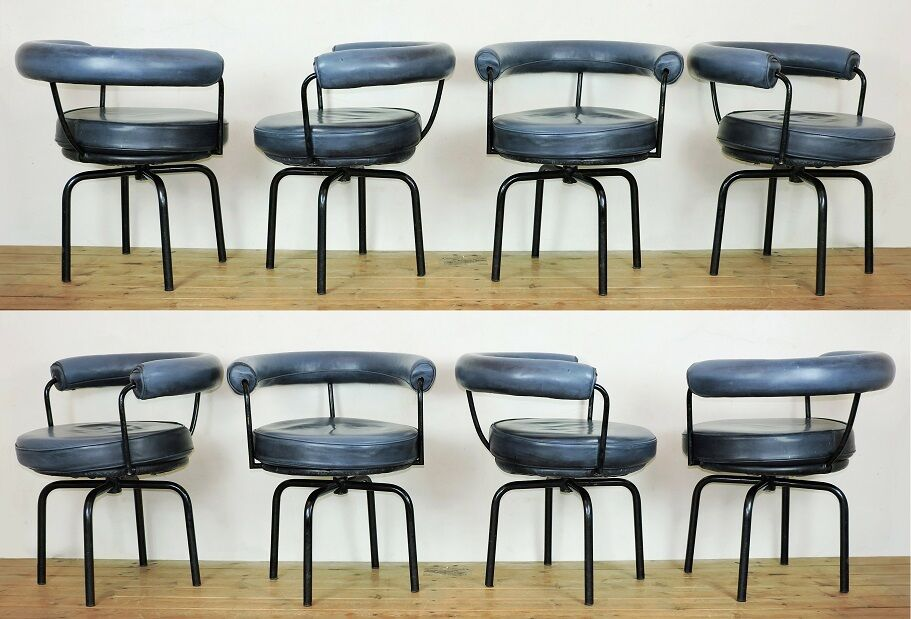LC7 Chairs x 8 blue leather black tubular steel Charlotte Perriand ...