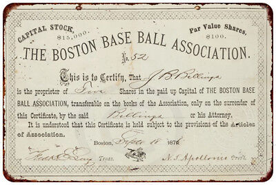 - 1876 Boston Base Ball Stock Certificate Vintage Reproduction Metal Sign 8 x 12