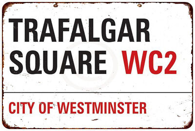 Trafalgar Square London Vintage Reproduction Metal sign 8 x 12 ()