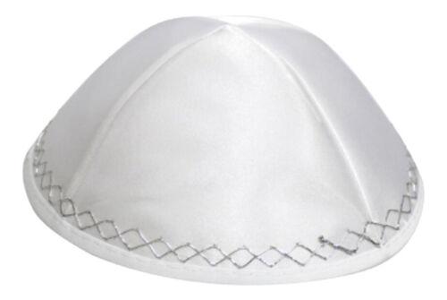 White Satin Kippah with Silver Embroidery - Jewish Yamaka - hat cap