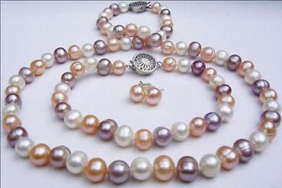 Genuine 8-9mm Natural Multicolor Akoya Cultured Pearl Necklace Bracelet Earrings ()