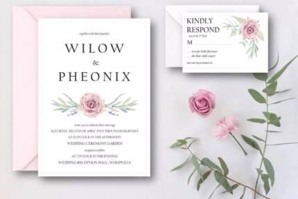 Invites She Writes: A5 Rustic Rose $4.00 (wedding invitation)