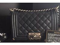 Chanel black le boy handbag