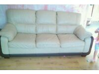 Cream leather 3seater 2 seater & foit stool