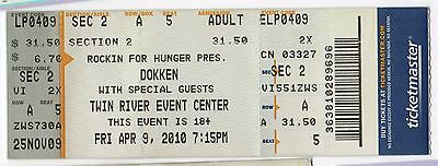 DOKKEN Concert TICKET Tour STUB Twin River RHODE ISLAND Rockin for Hunger METAL