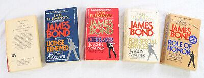 JAMES BOND 007 X5 in Paperback Ian Fleming/ John Gardner USED  Brilliant!!!!