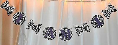 happy birthday, its a girl baby shower zebra print, purple hanging banner decor