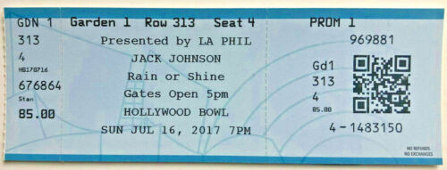 2017 Jamtown & Jack Johnson Hollywood Bowl Ticket Stub 7/16/17 Hollywood Ca.