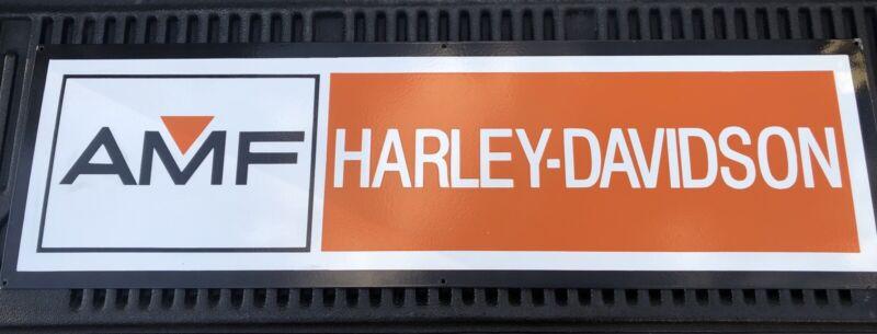 """VINTAGE AMF HARLEY DAVIDSON MOTORCYCLES 48""""x14"""" LARGE DEALERSHIP PORCELAIN SIGN!"""
